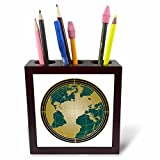 3dRose ph_252871_1 Gold and Blue Green Art Deco World Globe Design Tile Pen Holder, 5''