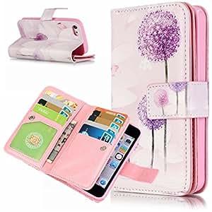 iPhone 5S Funda, Candy House Apple iPhone 5 5S SE PU Cuero Multifuncionales 9 Ranura Stand Flip Protector Piel Funda Carcasa Tapa Case Cover Cover (Purple Dandelion)