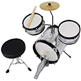 3pcs Junior Kid Children Drum Set Kit Sticks Throne Cymbal Bass Snare Boy Silver