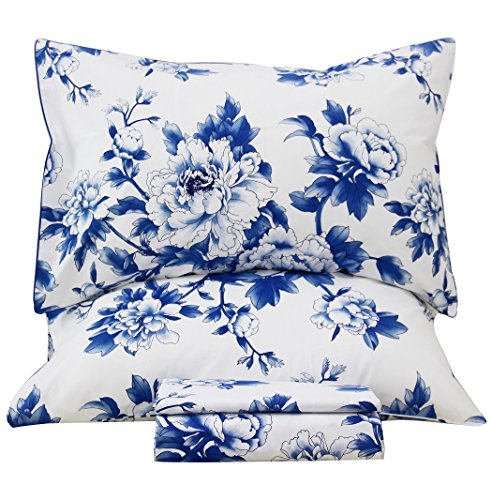 Queen's House Classical Blue and White Porcelain Print Bed Sheet and Pillowcases (Blue Stripe Sheet)