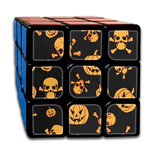 Halloween Pumpkin and Ghost Custom Personalized Speed Cube 3x3 Smooth Magic Square Puzzle Game -