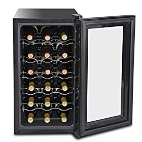 SUPER DEAL 18-Bottle Touchscreen Wine Cooler Thermoelectric Freestanding Red White Wine Champagne Chiller Wine Refrigerator