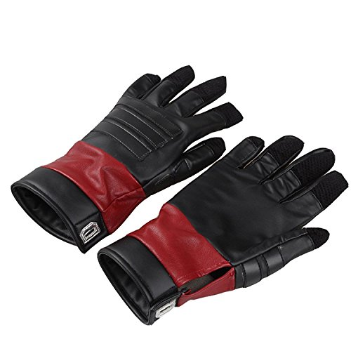 DP Deluxe Gloves Leather Finger Gloves Mens Soft Leather Glove Halloween Cosplay Costume Accessory Hot Movie Superhero Wilson Cosplay Black Gloves