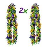 4E's Novelty Deluxe Mardi Gras Feather Boa Costume Accessory, Huge 72'', Mardi Gras Party Decoration, Mardi GRA Party Supplies, Mardi Gras Party Favor, 2 Pack