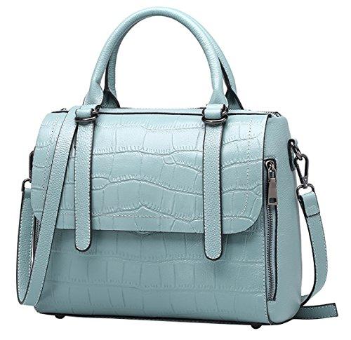 Hombro Nueva Saierlong De Del Gris Mujer Y Cuero Claro Genuino Zurriago Azul Shoppers Bolsos S6P4Srq