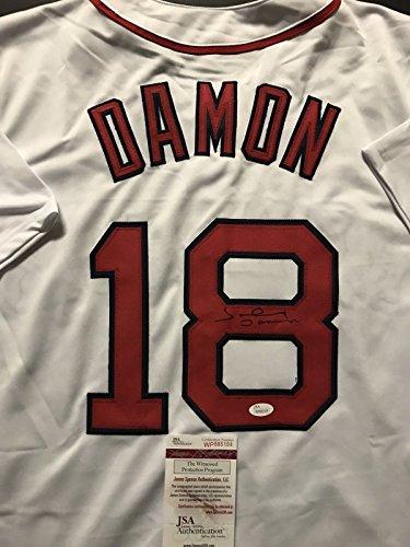 Johnny Damon Baseball Autographed (Autographed/Signed Johnny Damon Boston White Baseball Jersey JSA COA)