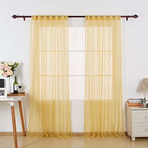 Deconovo Solid Color Sheer Curtains Rod Pocket and Back Tab