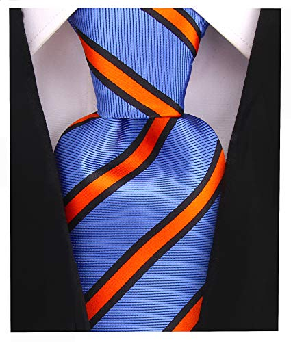 (Striped Ties for Men - Woven Necktie - Blue w/Orange)