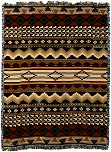 Pure Country Weavers - Domingo Southwest Blanket - Woven Tapestry Camp Throw with Fringe Cotton USA 72x54