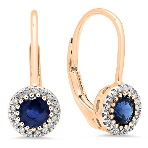 (10K Rose Gold Round Blue Sapphire & White Diamond Ladies Halo Style Dangling Drop Earrings)