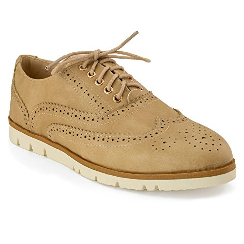 182c9bdbf4ef RF ROOM OF FASHION Women s Wing Tip Saddle Lace up Platform Oxford Flats -  Trendy Flatform Shoes Beige (6)