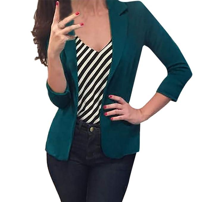 MrTom Mujer Jersey Blazer Solapa Abrigo Básico Clásico ...