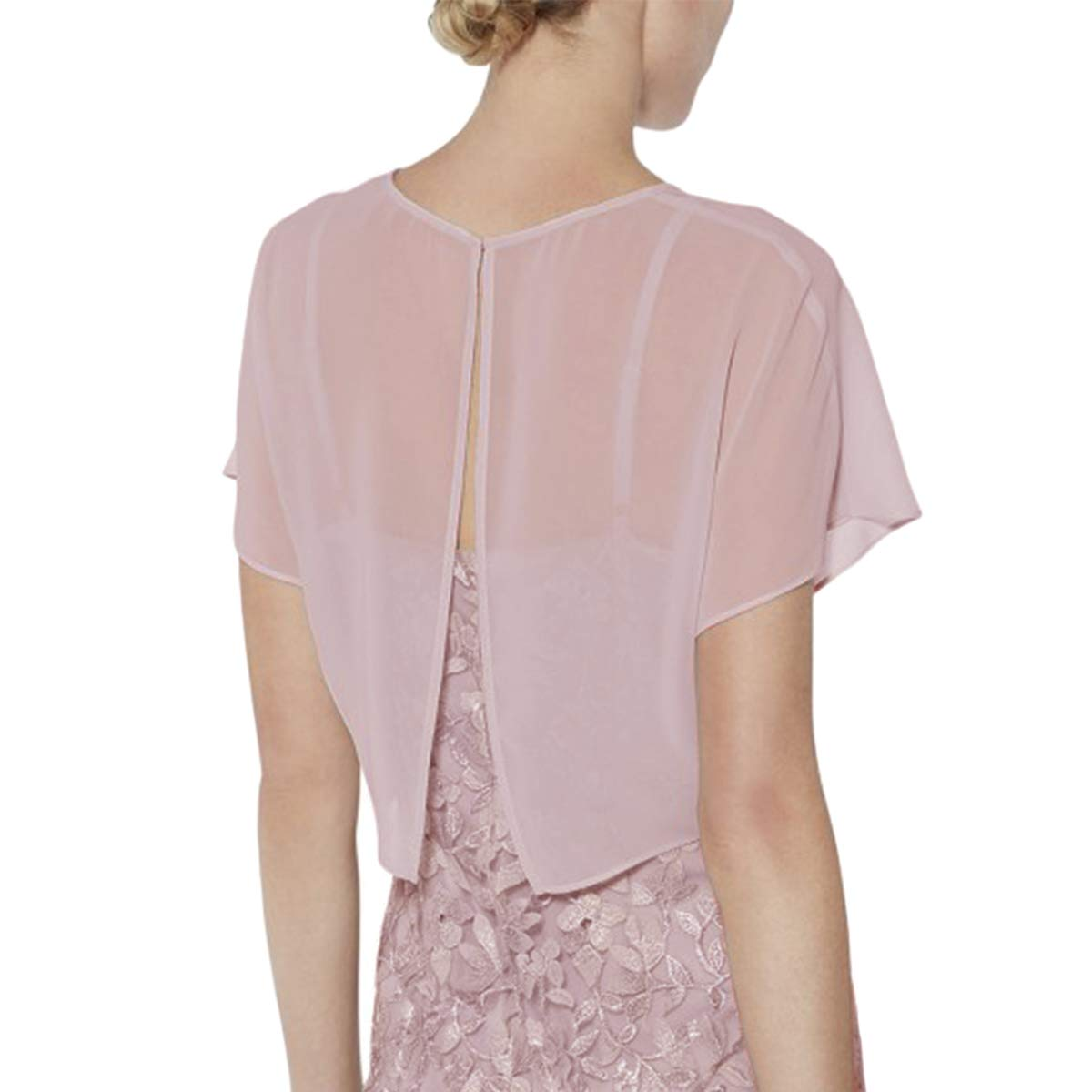 Short Sleeves Pink Chiffon Party Evening Wedding Bolero