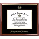 Michigan State University Spartans - Embossed Seal - Mahogany Gold Trim - Diploma Frame
