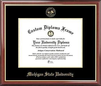 michigan state university spartans embossed seal mahogany gold trim diploma frame - Michigan State Diploma Frame
