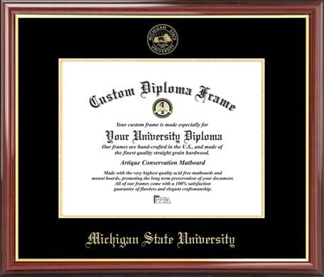 Laminated Visuals Michigan State University Spartans - Embossed Seal - Mahogany Gold Trim - Diploma Frame