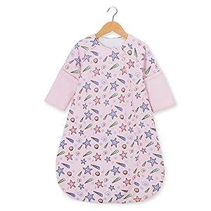 OuYun Baby Sleeping Bag Double Layer Cotton Wearable Blanket Spring Autumn, Small