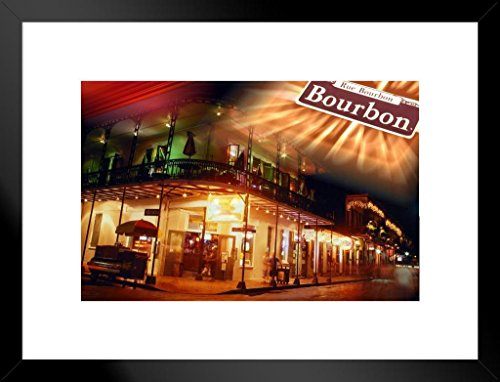 - Poster Foundry Bourbon Street at Night New Orleans Louisiana Photo Art Print Matted Framed Wall Art 26x20 inch