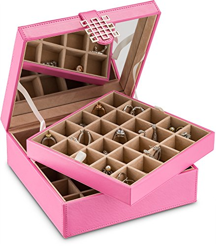 -Section Jewelry Box Earring Holder with Large Mirror, Pink ()