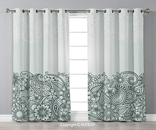 Grommet Blackout Window Curtains Drapes [ Henna,South Asian Body Paint Design Floral Arrangement with Various Wildflowers and Leaves Decorative,Green White ] for Living Room Bedroom Dorm Room Classroo -