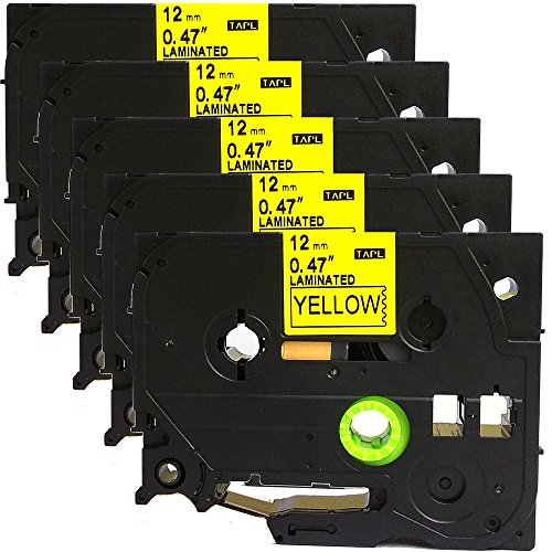 5PK Great Quality Compatible For Brother P-Touch Laminated Tze Tz Label Tape Cartridge 12mmx8m (TZe-631 Black on Yellow)