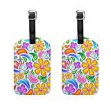 Set of 2 Luggage Tags Floral Flower Paisley Suitcase Labels Travel Accessories