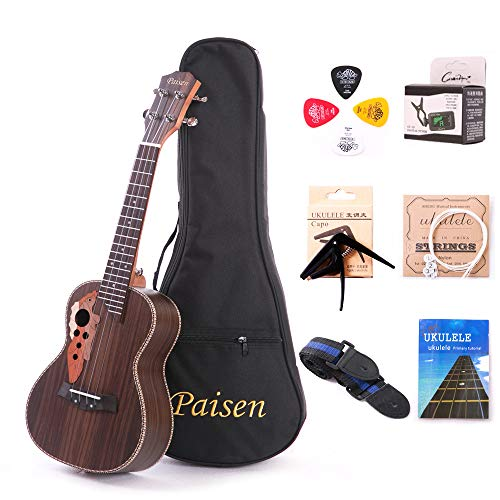 Paisen Rosewood 23 inch Hawaii Ukulele Professional Concert Ukulele with Tuner, Capo, Trim Folder Thick Piano Bag, Strings and ()