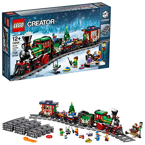 (LEGO Creator Expert Winter Holiday Train 10254 Christmas Train Set with Full Circle Train Track, Locomotive, and Spinning Christmas Tree Toy (734 Pieces))