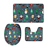 Dellukee Creative Bath Rug 3 Pieces Cute Rich Colorful Christmas Pattern U Shaped Toilet Lid Bathroom Floor Mats Cover Pads For Home Company Mall Use