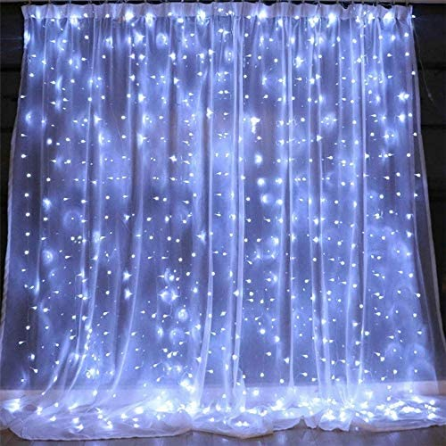 PUHONG Remote Control Curtain Lights,300 LED 9.8 X 9.8ft for Halloween Christmas Wedding Party Home Garden Bedroom Indoor Wall Decorations White