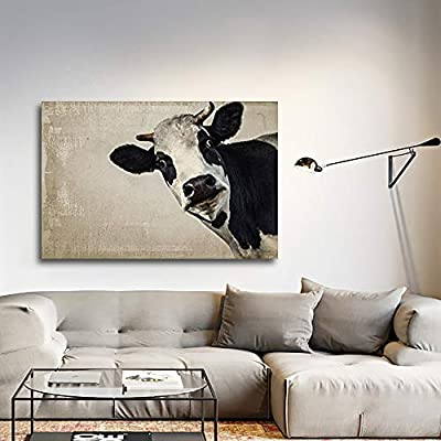 Professional Creation, Elegant Picture, A Cow on Vintage Background Wall Decor