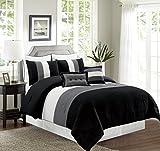 Black and White King Size Bedding Sets 8 Piece KING Size BLACK / WHITE / GREY Pin Tuck Stripe Regatta Goose Down Alternative Comforter set 104