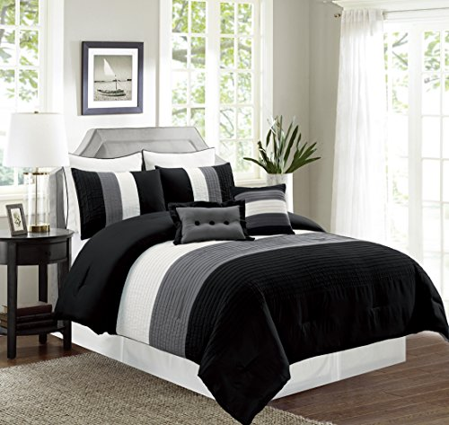 8 Piece QUEEN Size BLACK / WHITE / GREY Pin Tuck Stripe Regatta Goose Down Alternative Comforter set 90