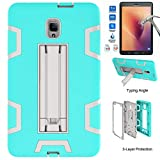 Galaxy Tab A 8.0 2017 Case With Tempered Glass Screen Protector,I VIKKLY [Kickstand] Heavy Duty Hybrid Rugged Shockproof Case For Samsung Galaxy Tab A 8.0 (SM-T380/T385) 2017 Release (Grey/Aqua)