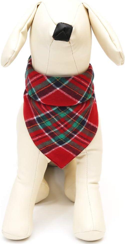 Yu-Xiang 2 Pack Red Green Stripe Dog Bandana Pet Neck Dress Scarf Bib Christmas Headwear Large Dogs Costumes Pets Lattice Bandana L, Red+Green