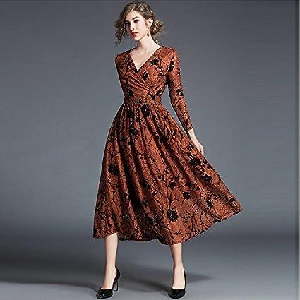 Lee Otoño y el invierno de la mujer vestidos encaje – vestidos – impreso