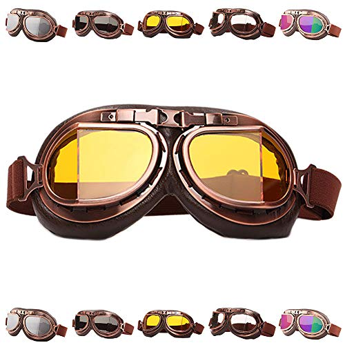 Peicees Vintage Helmet Goggles Motrocycle Scooter Cycle Mountain Bike Motorcross Cycling Goggles Retro Aviator Pilot Goggles Off-Road Glasses Eyewear(Amber Lens) (Cycling Winter Goggles)