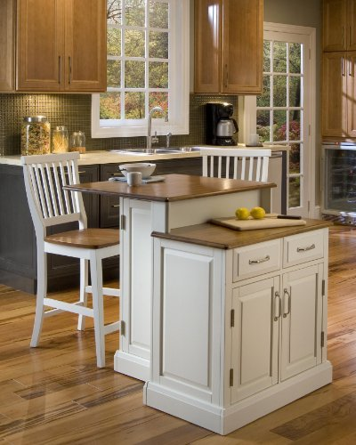 Home Styles  Woodbridge 2-Tier Kitchen Island with 2 Stool, White Finish from Home Styles