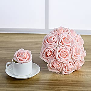 Breeze Talk Artificial Flowers Blush Roses 25pcs Realistic Fake Roses w/Stem for DIY Wedding Bouquets Centerpieces Arrangements Party Baby Shower Home Decorations (25pcs Blush) 4