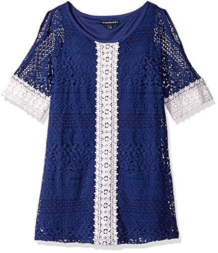 My Michelle Girls' Big Cold Shoulder A-Line Lace Dress with Crochet Sleeves and Front Detail, Natural, 7 (My Clothes Michelle)