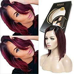 Ombre Lace Front Wig BOB Style Remy Human Hair Short Natural Black to Wine Red Side Parting with Baby Hair Silky Straight for Black Women (10 inches, 1B/99J, 130% Density)