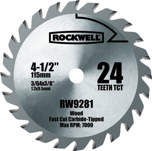 Saw Circular Tooth Carbide Tipped - Rockwell RW9281 4 1/2-Inch 24T Carbide Tipped Compact Circular Saw Blade