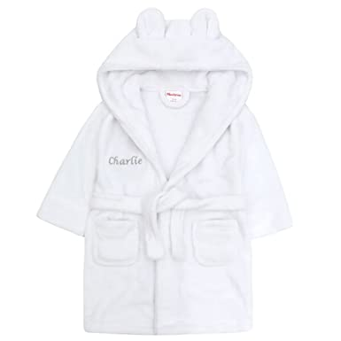 Embroidered Personalised Soft Baby White Dressing Gown Bath Robe with Teddy  Ears 18-24 Pink or Blue Text  Amazon.co.uk  Clothing a7eaf58ca