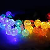 Solar String Lights 20 ft 30 Led Globe Crystal Multicolor Waterproof Multi-mode Bright Bubble Ambiance Lights Decorative for Outdoor Garden Patio Bistro Christmas Party Wedding Holiday (Multicolor)
