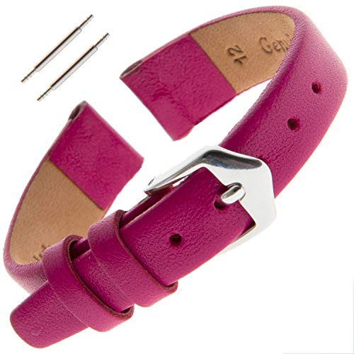 Gilden Ladies 12mm Classic Calfskin Fashion Color Flat Leather Watch Band F60-1112 (12 Millimeter end Width, Magenta)