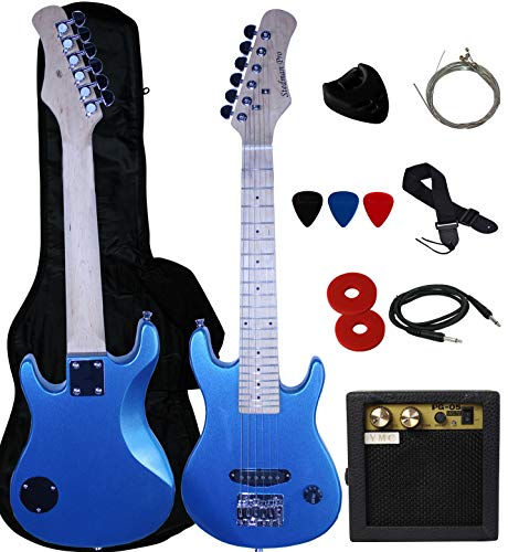 Stedman Pro Kid Series Electric Guitar Pack with 5-Watt Amp, Gig Bag, Strap, Cable, Strings, Picks, and Wrench -Metallic Blue