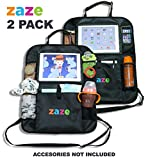 Premium CAR Back SEAT ORGANIZER & iPad TABLET HOLDER by ZAZE 2 Unit Multifunction: Car Seat Protector + Kick Mat + Organizer + Tablet Holder Travel Honda Odyssey Accessories Kids Covers Baby Protector