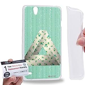 Case88 [Sony Xperia C4 / C4 Dual] Gel TPU Carcasa/Funda & Tarjeta de garantía - Art Fashion Green Flower Penrose Triangle