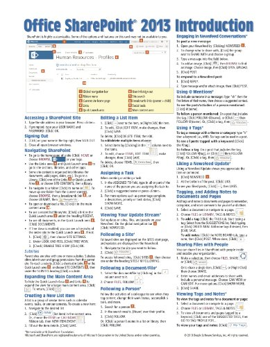 Microsoft Sharepoint 2013 Quick Reference Guide  Introduction  Cheat Sheet Of Instructions   Tips   Laminated Card