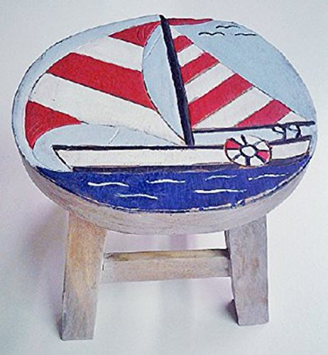 Sailboat Design Hand Carved Acacia Hardwood Decorative Short Stool by Sea Island (Image #1)